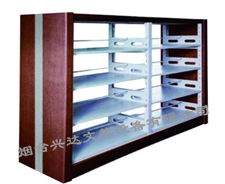 产品信息:SJ-F6027四层双柱双面钢木书架